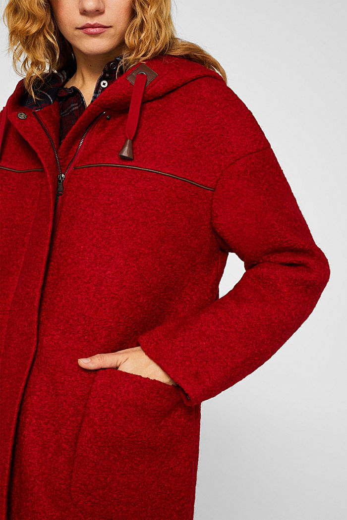 Made of blended wool: bouclé coat, RED, detail image number 1