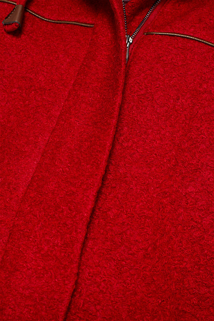 Made of blended wool: bouclé coat, RED, detail image number 3