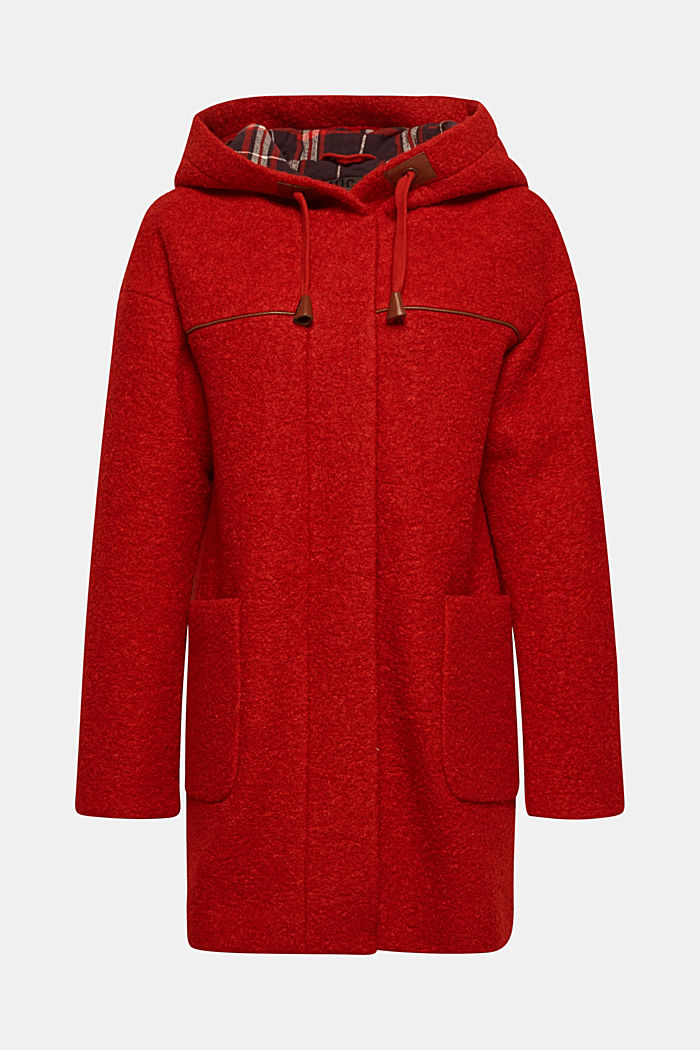 Made of blended wool: bouclé coat, RED, detail image number 5