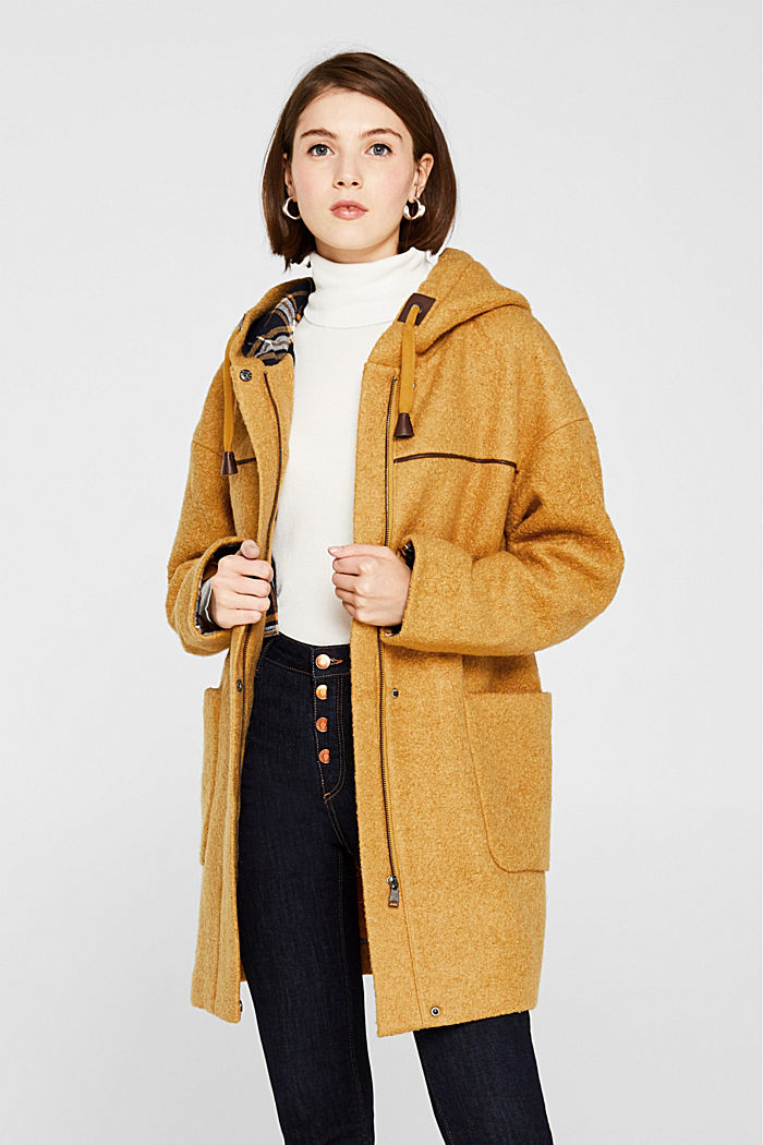 Made of blended wool: bouclé coat, AMBER YELLOW, detail image number 0