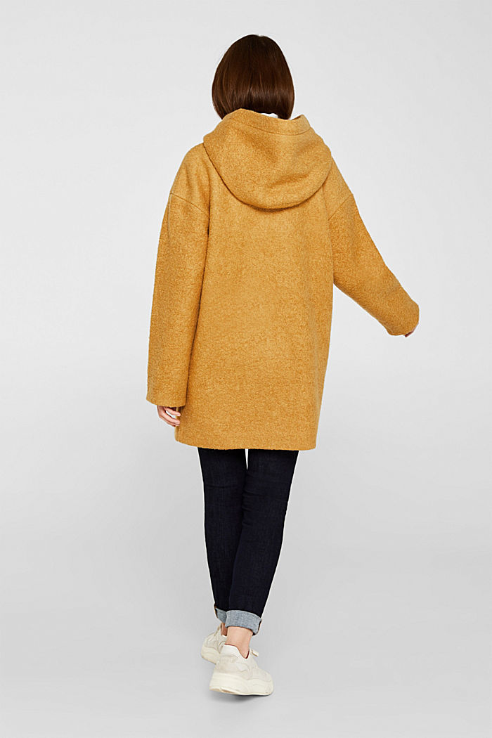 Made of blended wool: bouclé coat, AMBER YELLOW, detail image number 3