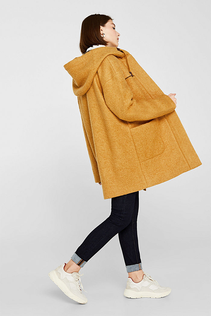 Made of blended wool: bouclé coat, AMBER YELLOW, detail image number 5