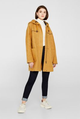 Made of blended wool: bouclé coat, AMBER YELLOW, detail