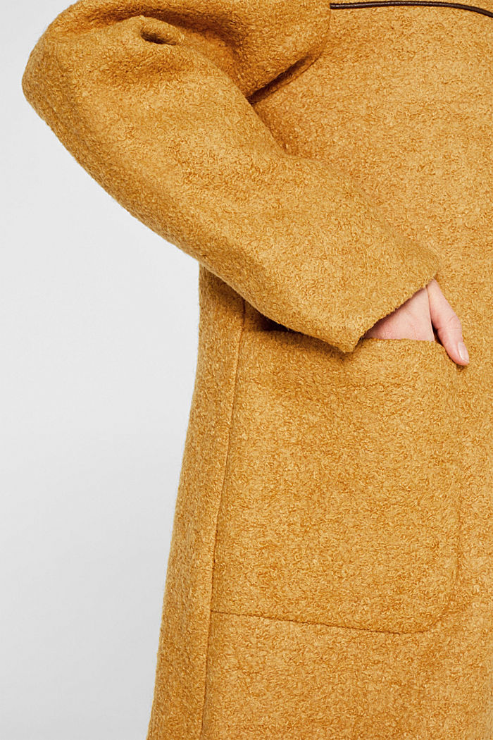 Made of blended wool: bouclé coat, AMBER YELLOW, detail image number 2