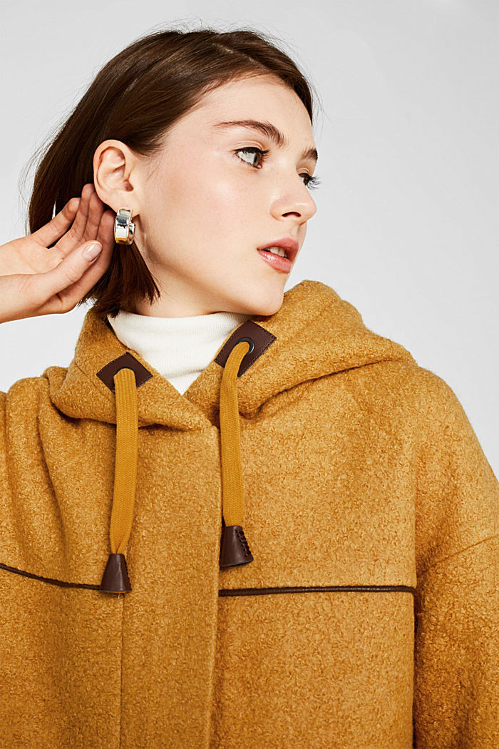 Made of blended wool: bouclé coat, AMBER YELLOW, detail image number 7