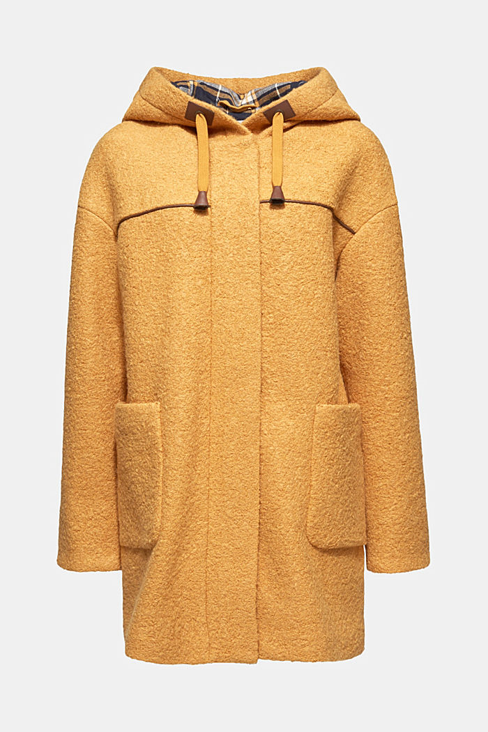Made of blended wool: bouclé coat, AMBER YELLOW, detail image number 8