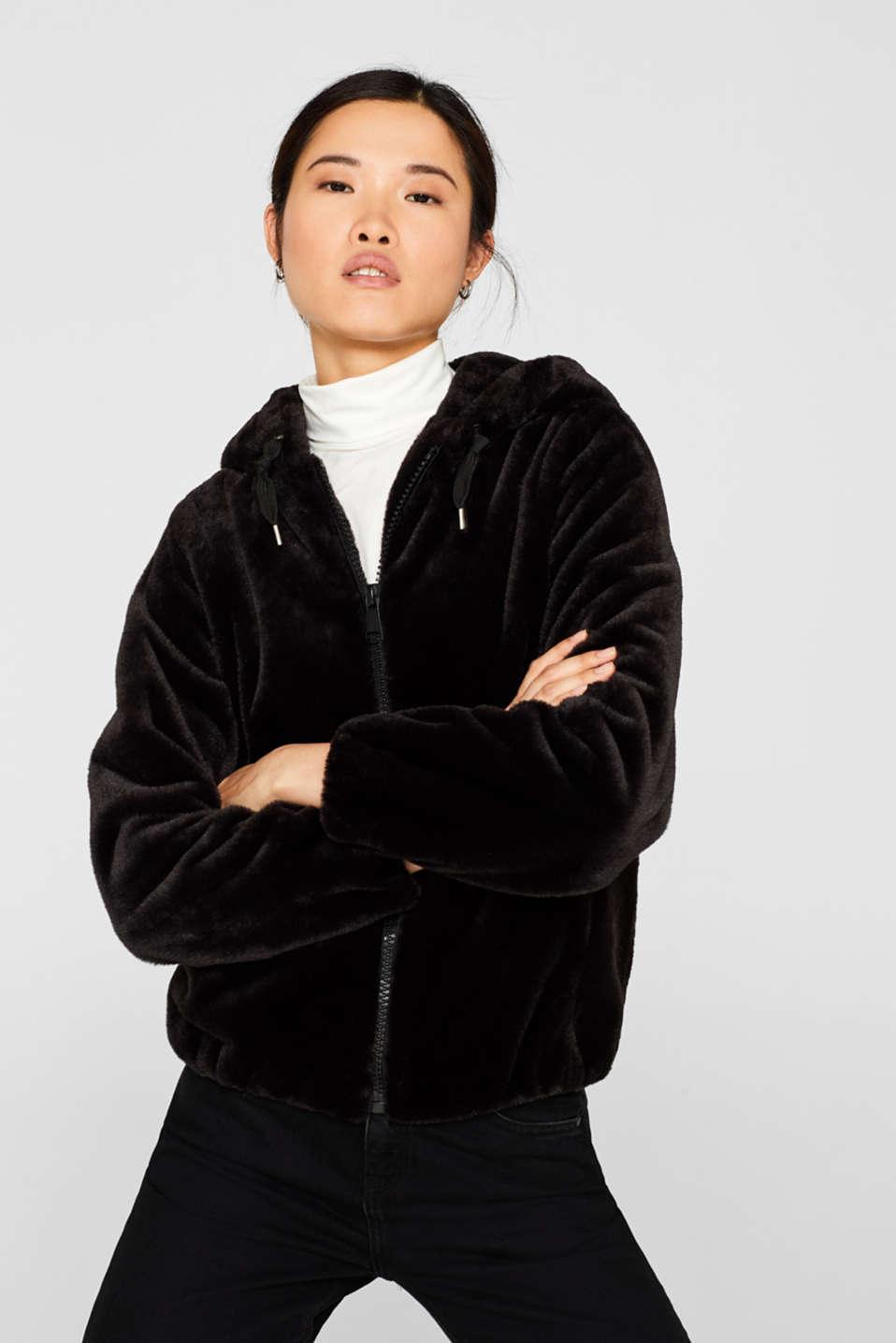 Faux fur jacket with hood, BLACK, detail image number 0