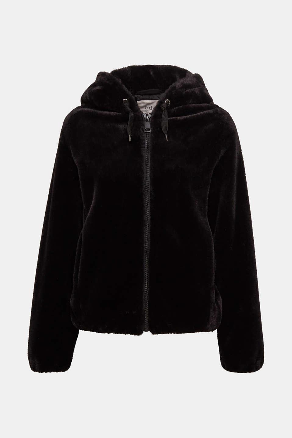 Faux fur jacket with hood, BLACK, detail image number 6