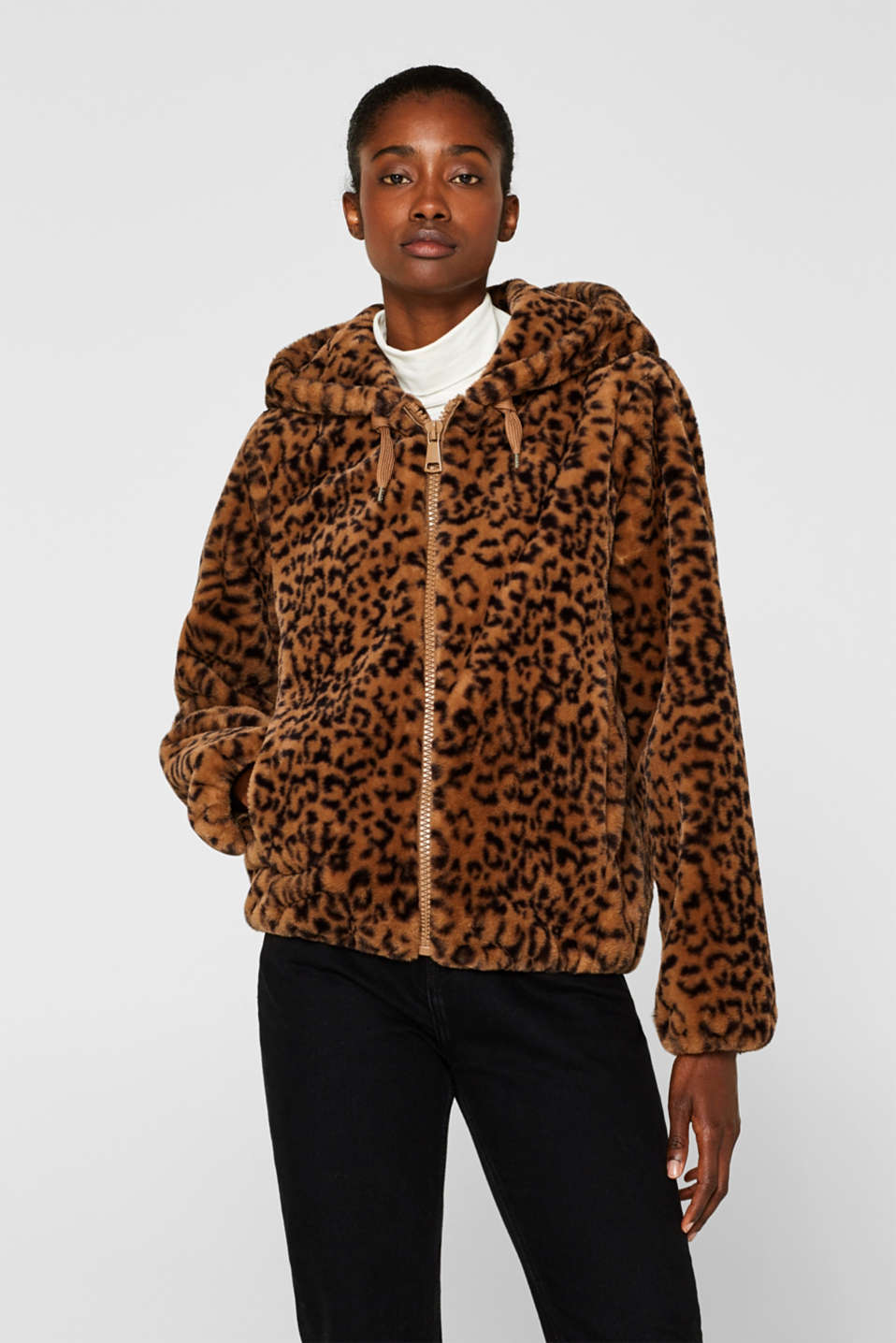 Faux fur jacket with hood, CAMEL, detail image number 0