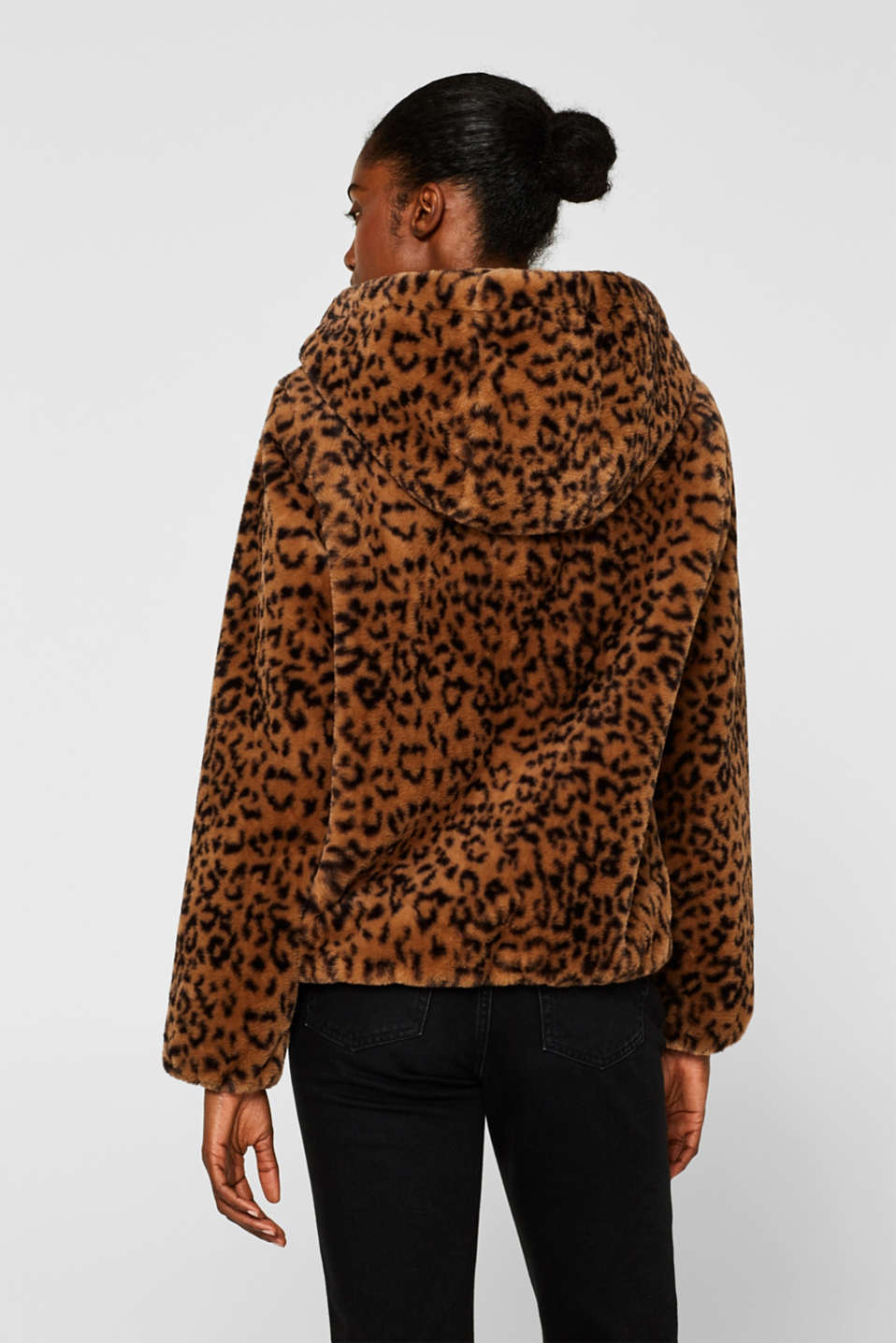 Faux fur jacket with hood, CAMEL, detail image number 3