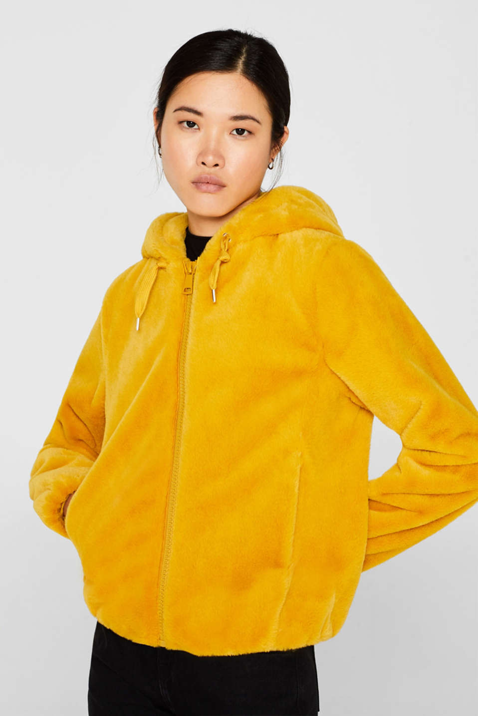 Faux fur jacket with hood, AMBER YELLOW, detail image number 0