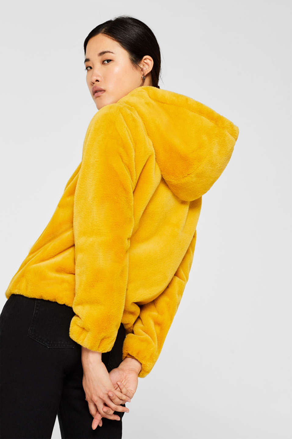 Faux fur jacket with hood, AMBER YELLOW, detail image number 3