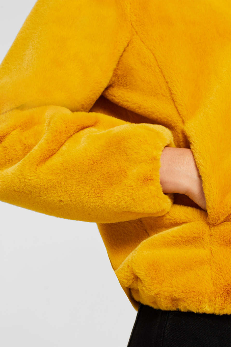 Faux fur jacket with hood, AMBER YELLOW, detail image number 2