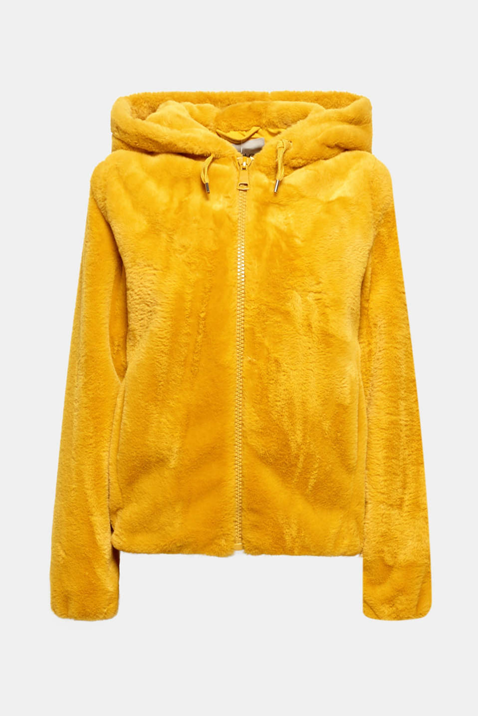 Faux fur jacket with hood, AMBER YELLOW, detail image number 5
