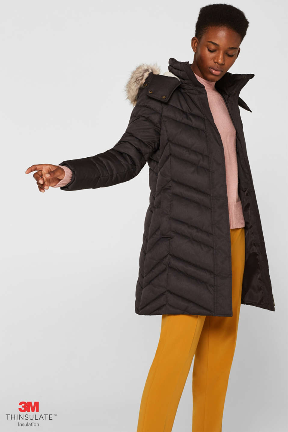Quilted coat with a faux fur hood, ANTHRACITE 5, detail image number 0