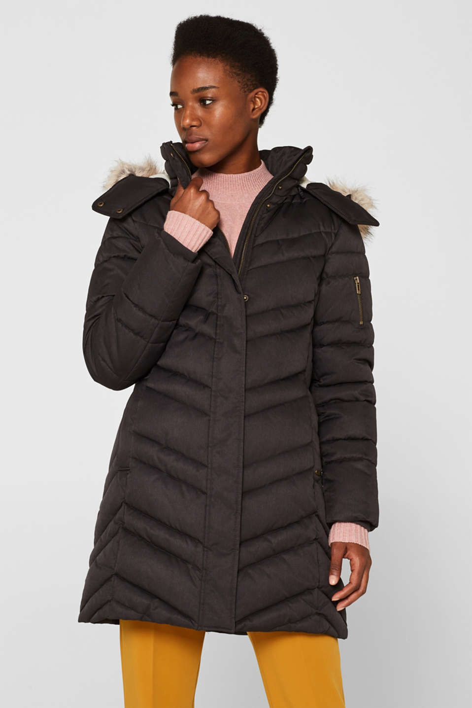 Quilted coat with a faux fur hood, ANTHRACITE 5, detail image number 5