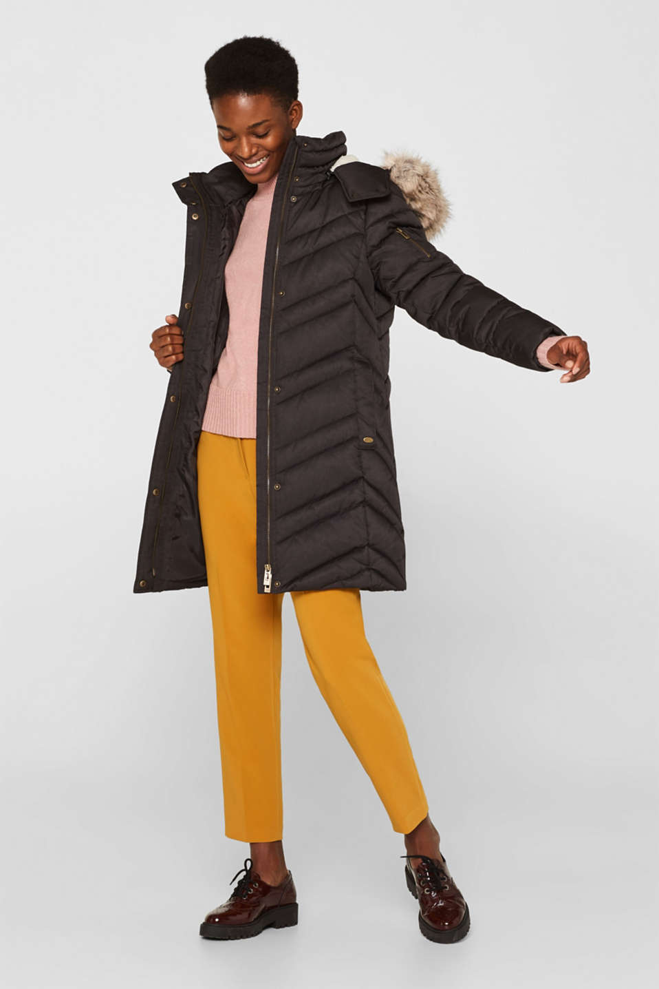 Quilted coat with a faux fur hood, ANTHRACITE 5, detail image number 1