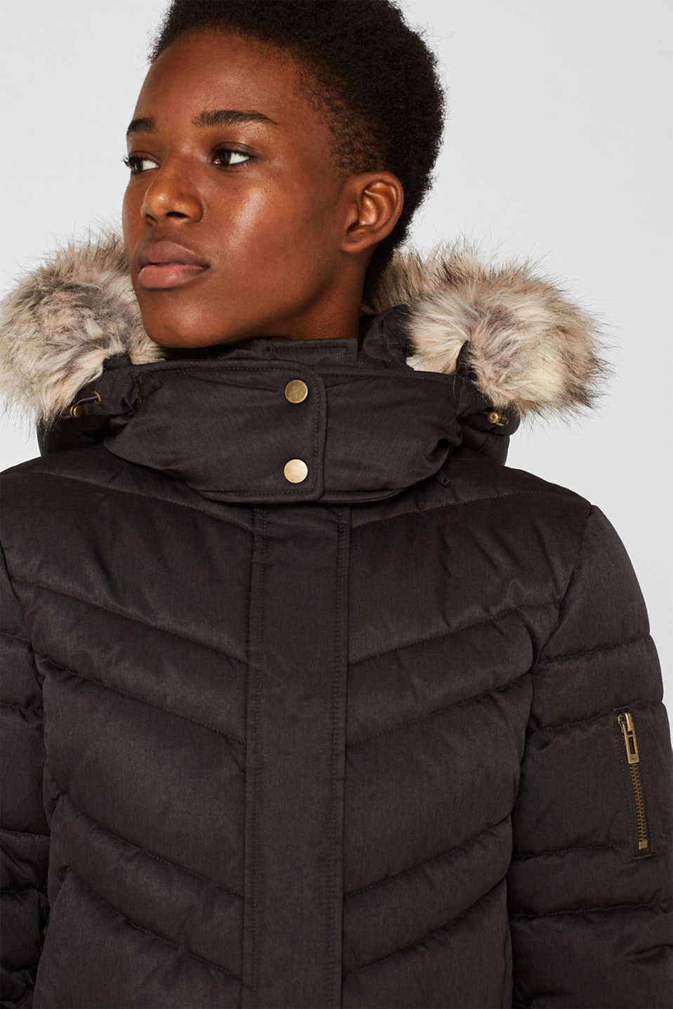 Quilted coat with a faux fur hood, ANTHRACITE 5, detail image number 2