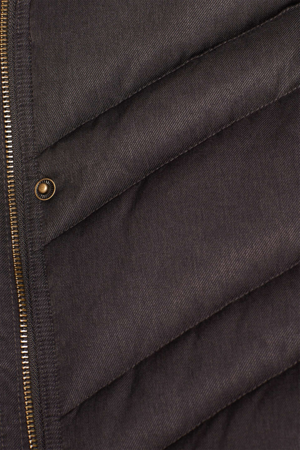 Quilted coat with a faux fur hood, ANTHRACITE 5, detail image number 4
