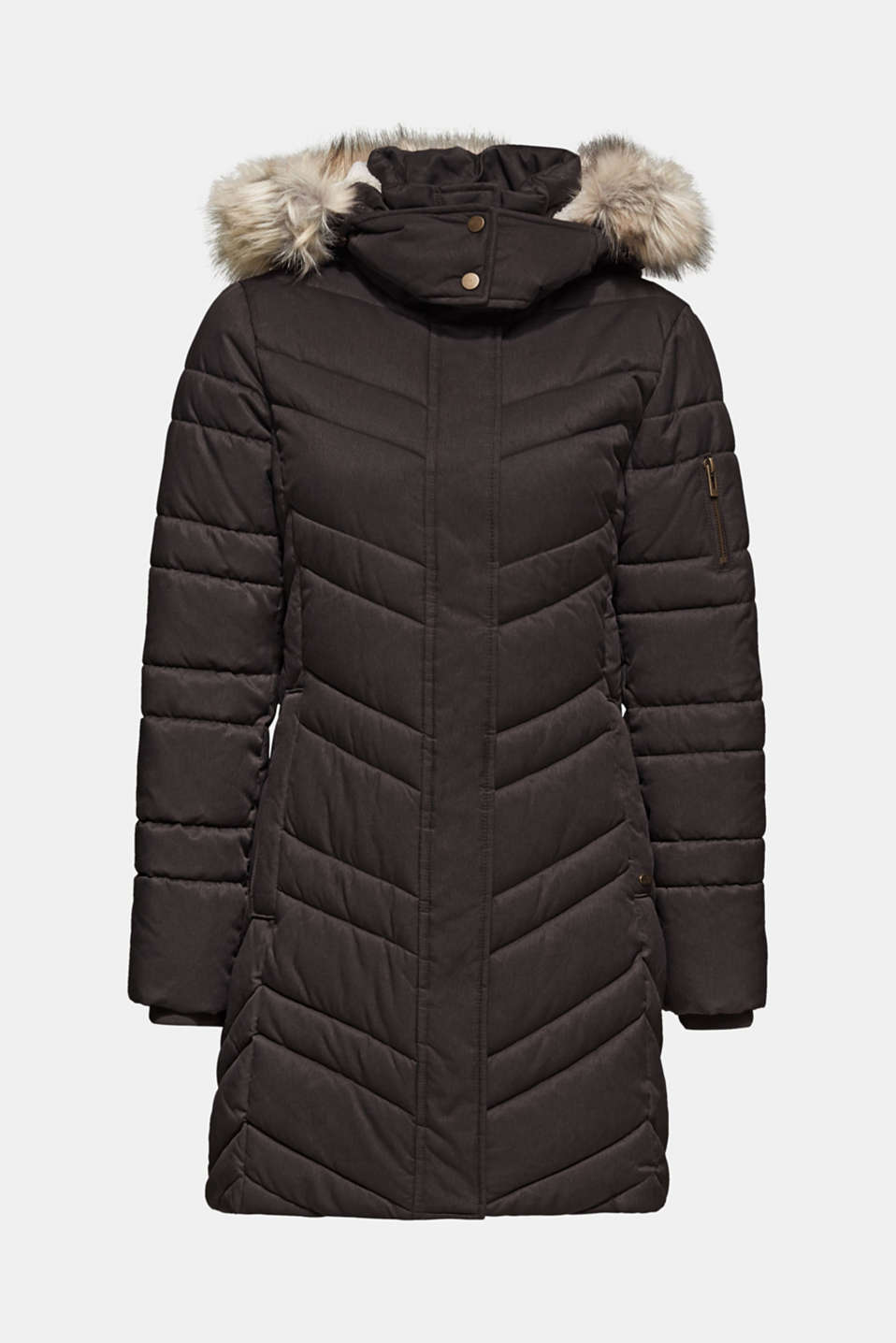 Quilted coat with a faux fur hood, ANTHRACITE 5, detail image number 6