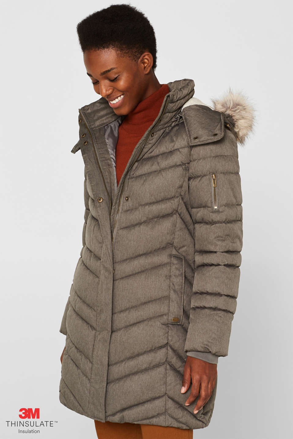 Quilted coat with a faux fur hood, BROWN GREY 5, detail image number 0