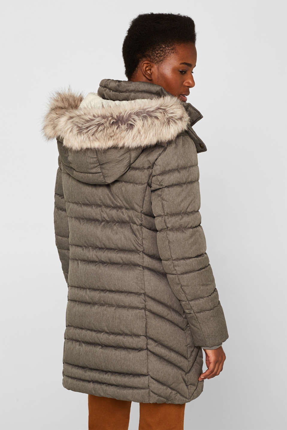 Quilted coat with a faux fur hood, BROWN GREY 5, detail image number 3