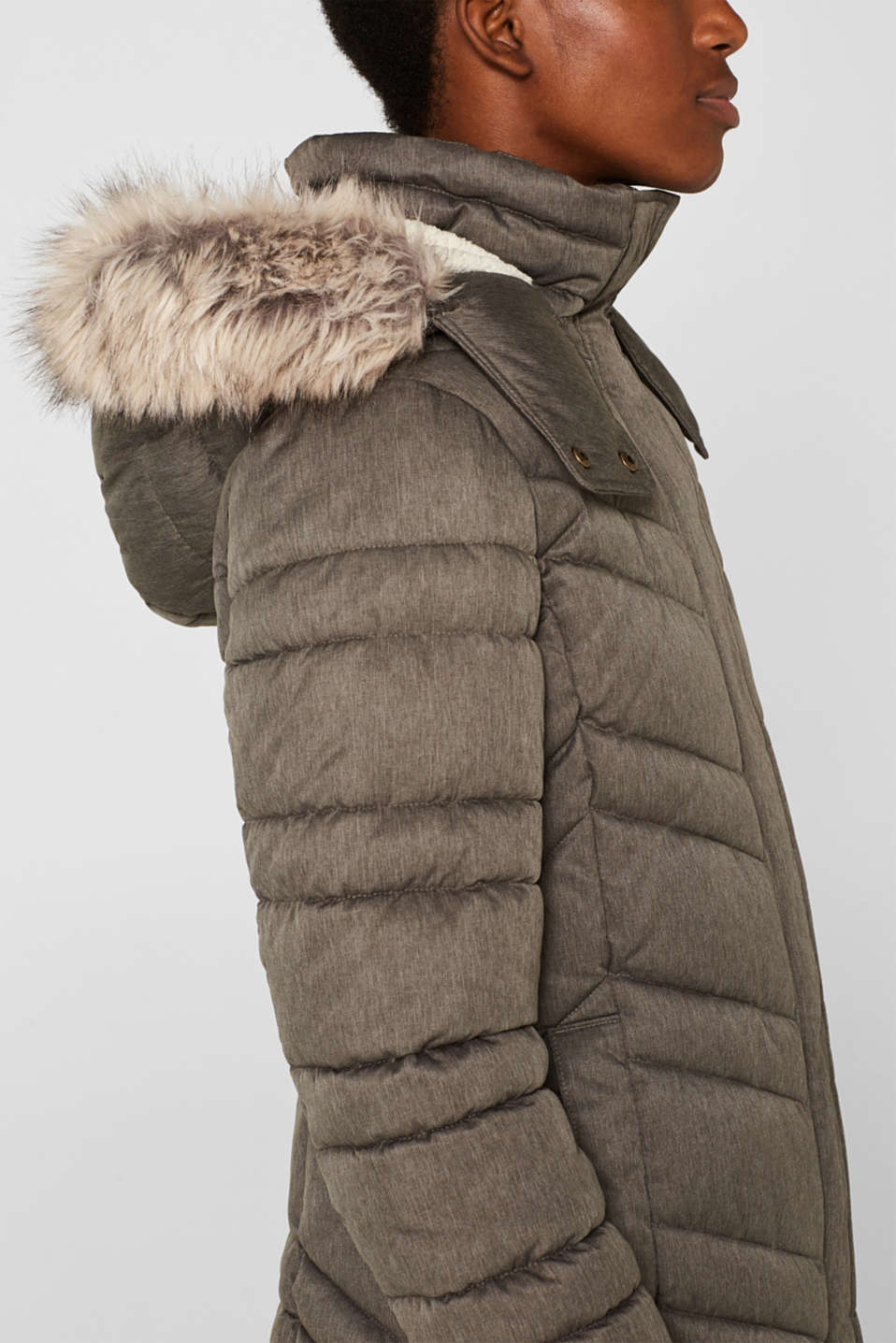 Quilted coat with a faux fur hood, BROWN GREY 5, detail image number 2