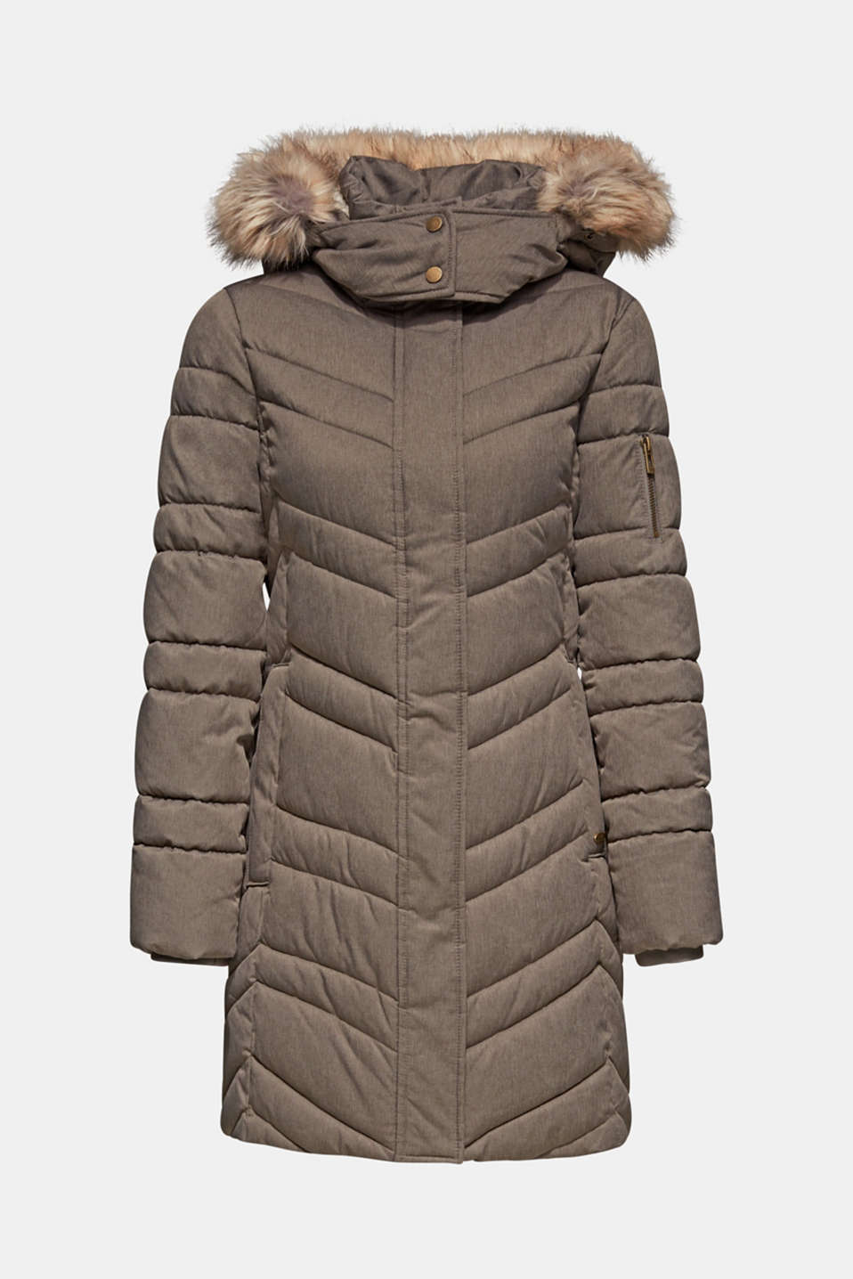 Quilted coat with a faux fur hood, BROWN GREY 5, detail image number 6