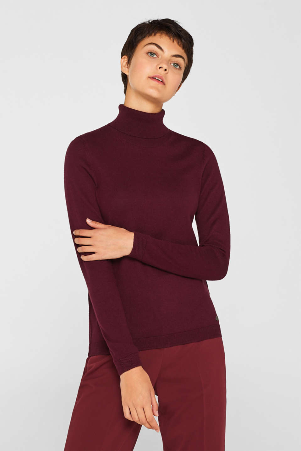 Basic polo neck jumper, BORDEAUX RED, detail image number 0