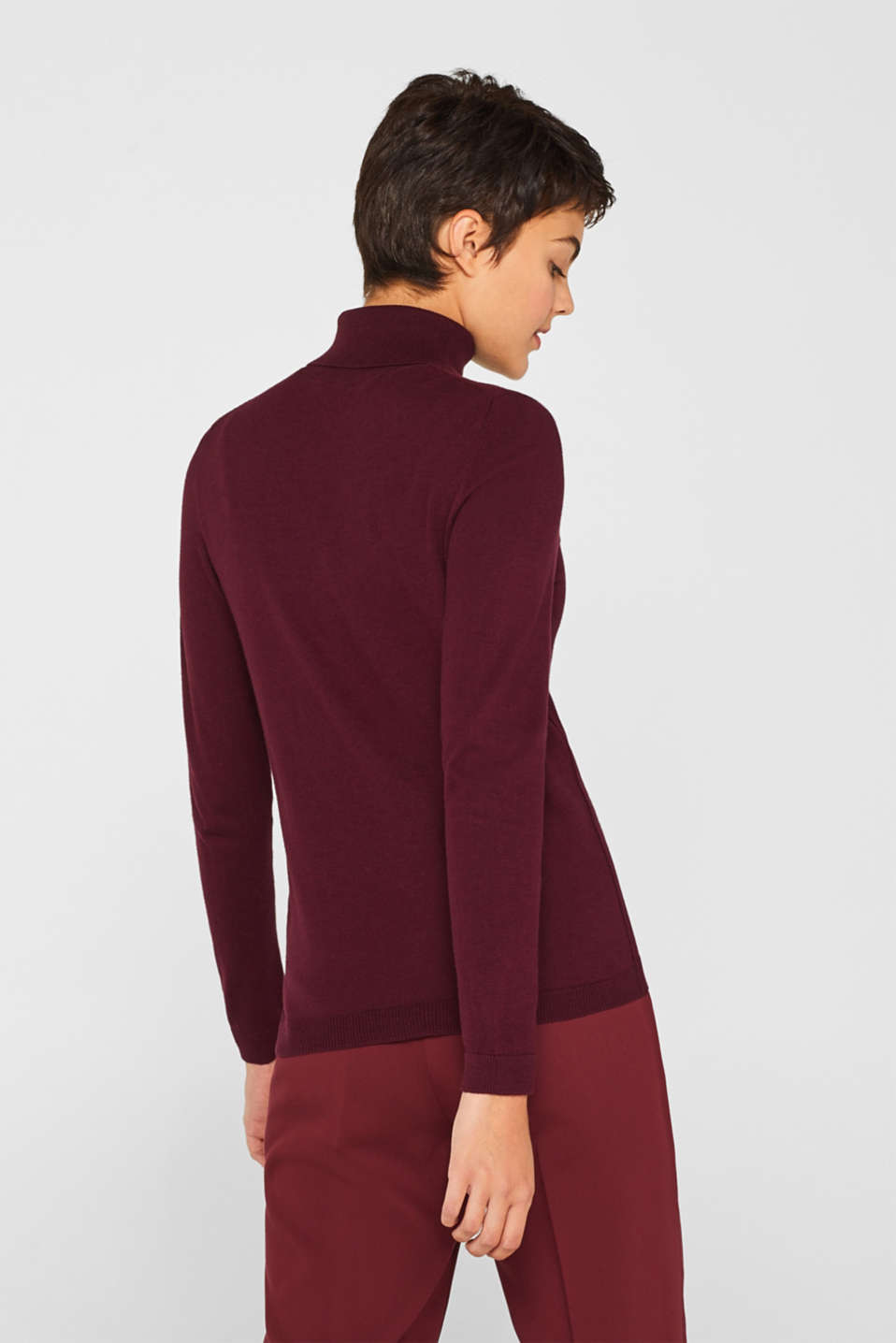 Basic polo neck jumper, BORDEAUX RED, detail image number 3