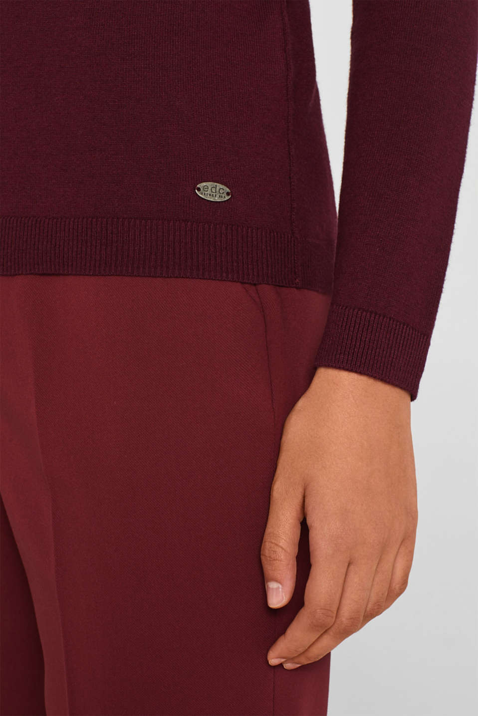 Basic polo neck jumper, BORDEAUX RED, detail image number 5
