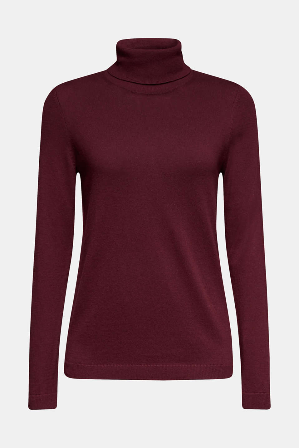 Basic polo neck jumper, BORDEAUX RED, detail image number 6