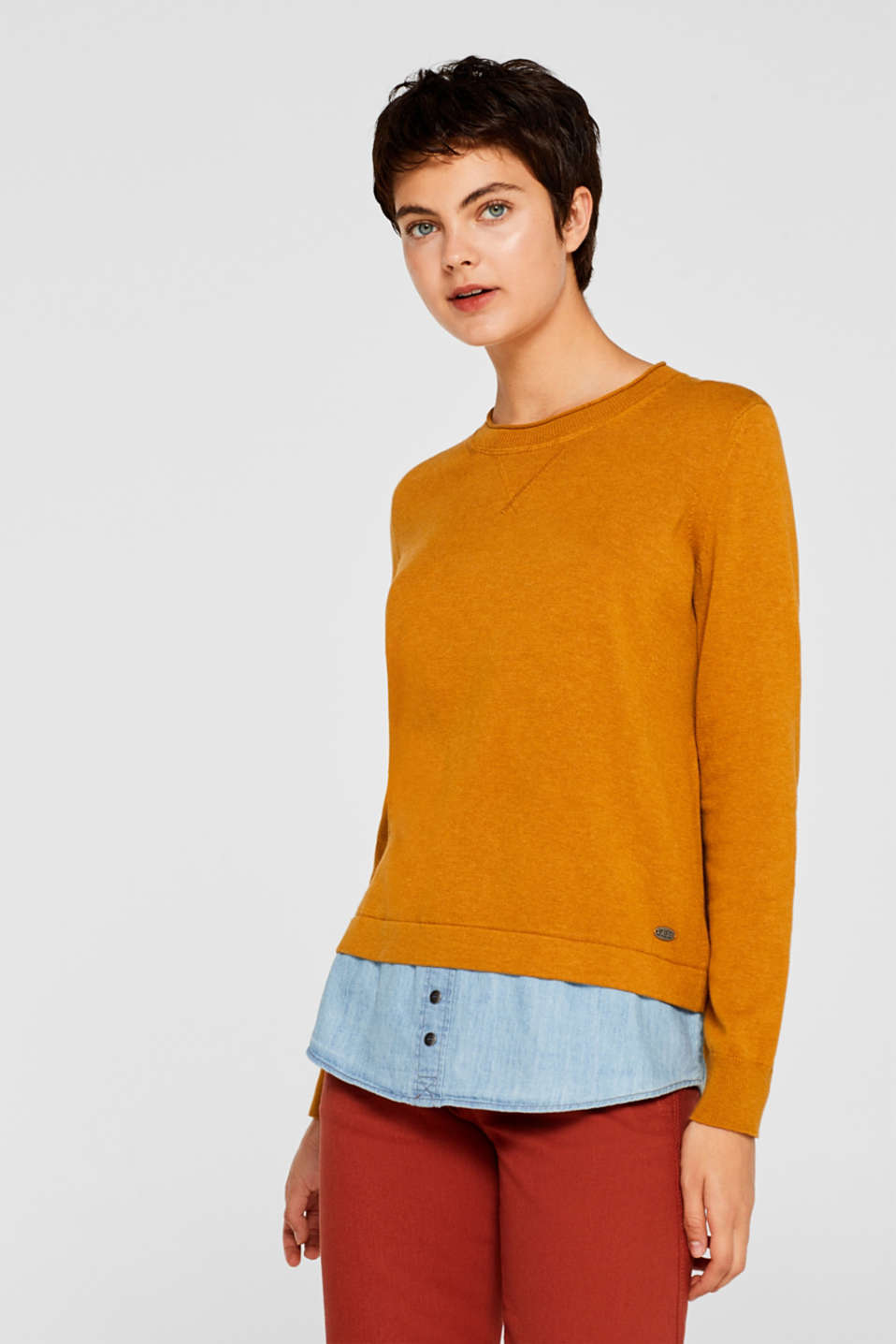 edc - 2-in-1-Pullover, 100% Baumwolle