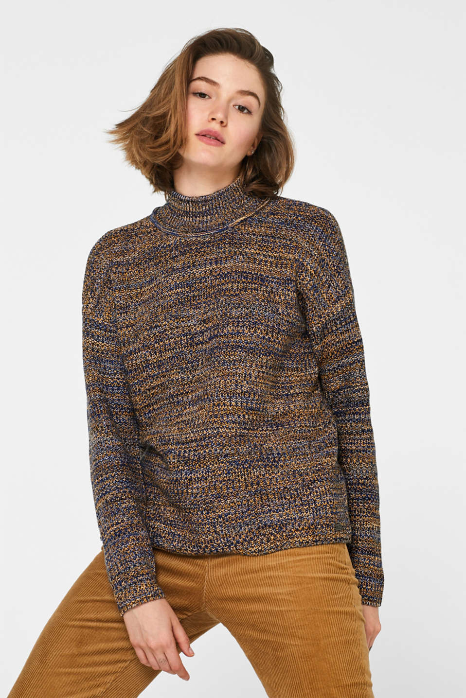 edc - Turtleneck-Pullover aus Multicolor-Garn