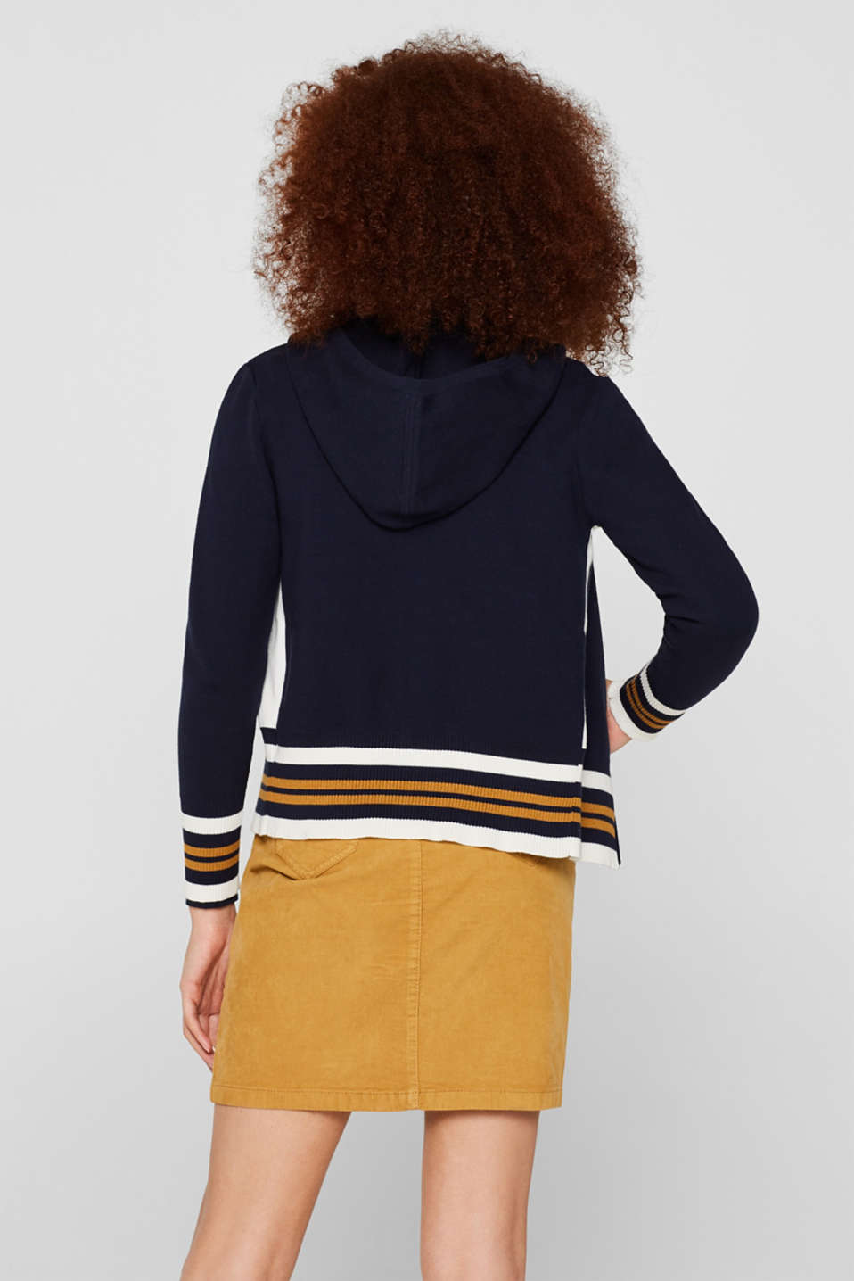 Knit cardigan with a hood and stripes, NAVY 3, detail image number 3