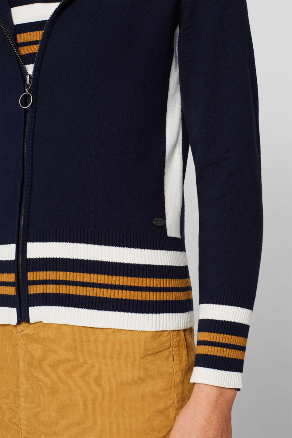 Knit cardigan with a hood and stripes, NAVY 3, detail image number 2