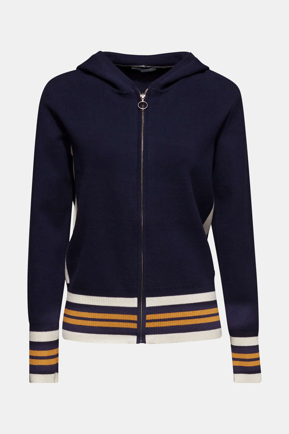 Knit cardigan with a hood and stripes, NAVY 3, detail image number 5