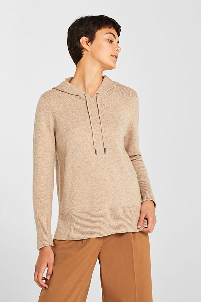 With wool: Hoodie made of melange yarn, TAUPE, detail image number 0