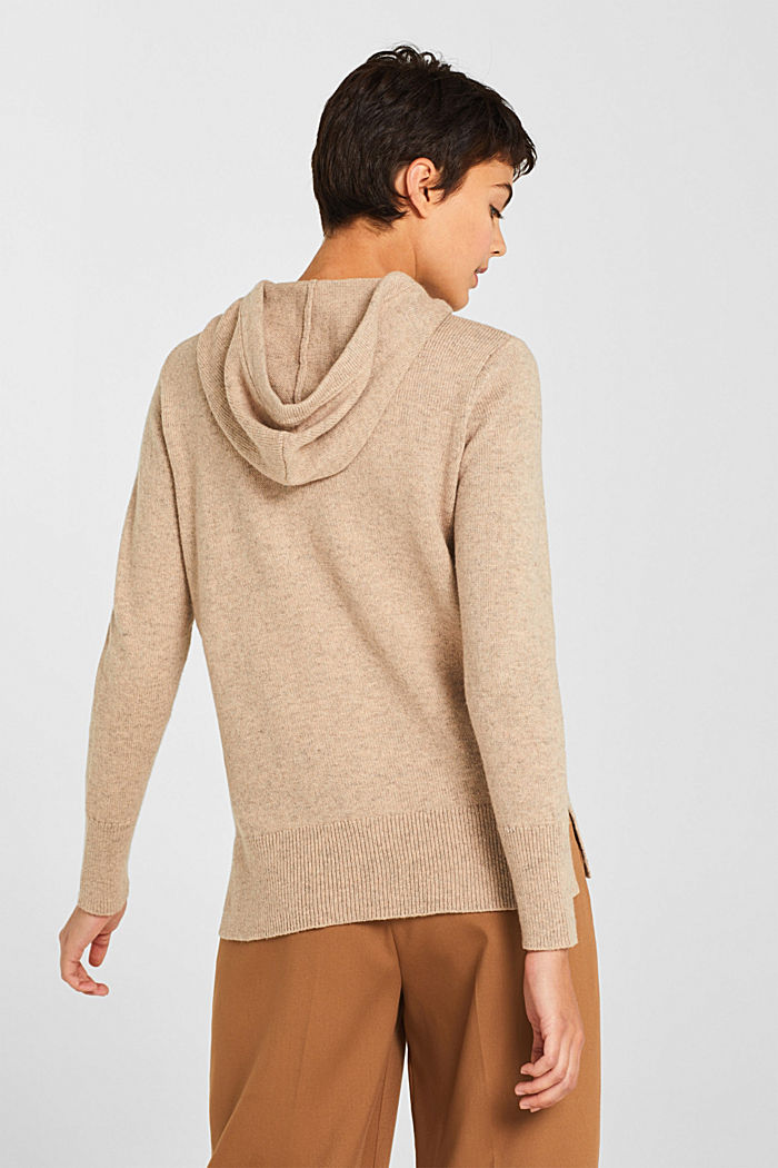 With wool: Hoodie made of melange yarn, TAUPE, detail image number 3