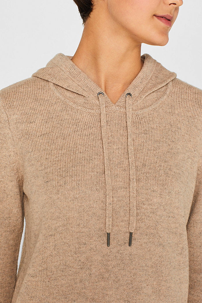 With wool: Hoodie made of melange yarn, TAUPE, detail image number 4