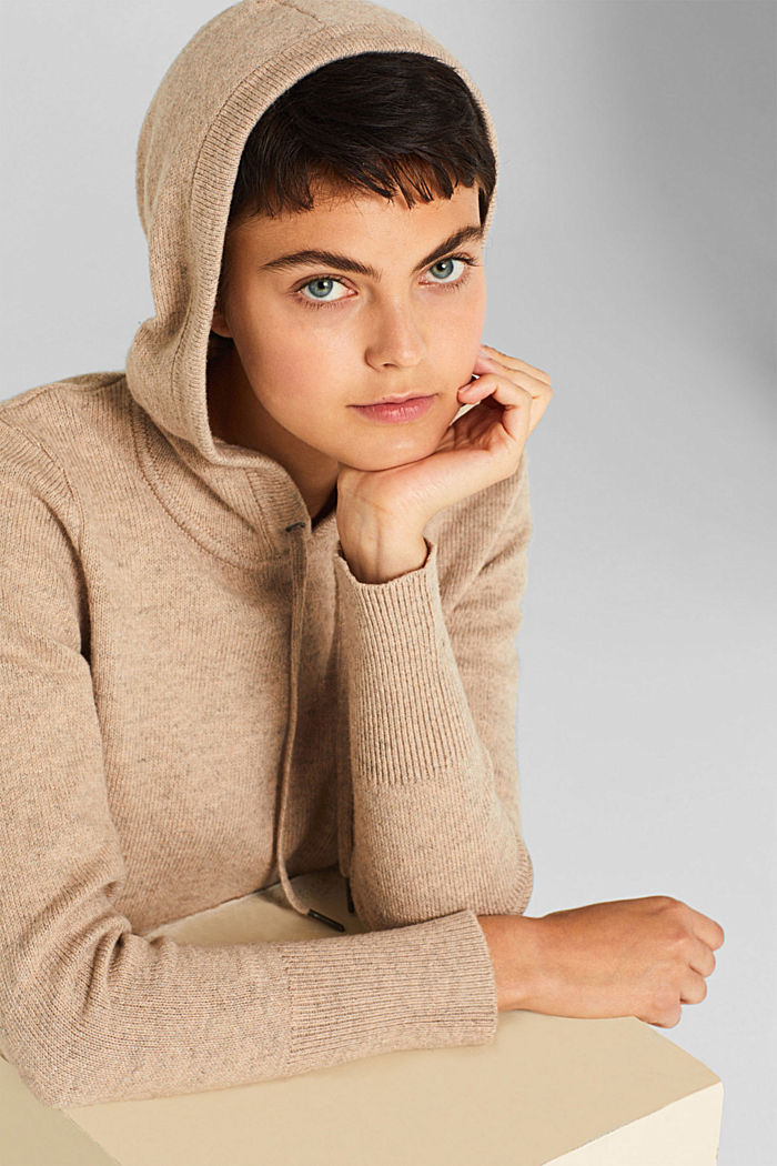 With wool: Hoodie made of melange yarn, TAUPE, detail image number 6