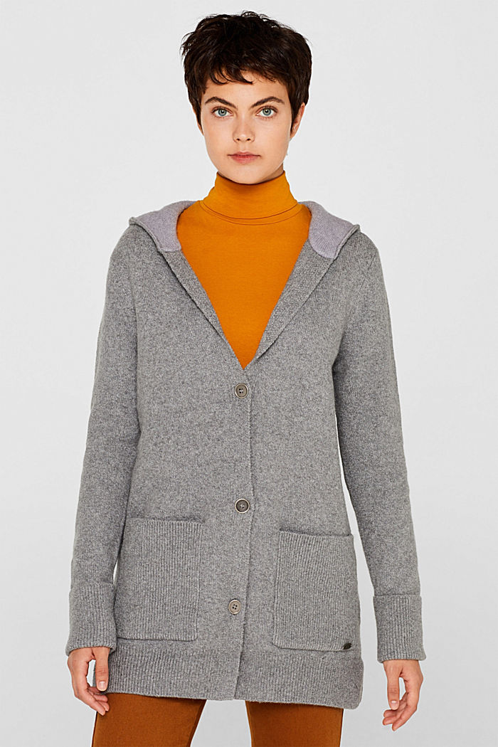 With wool: knitted coat with a hood, GUNMETAL, detail image number 0