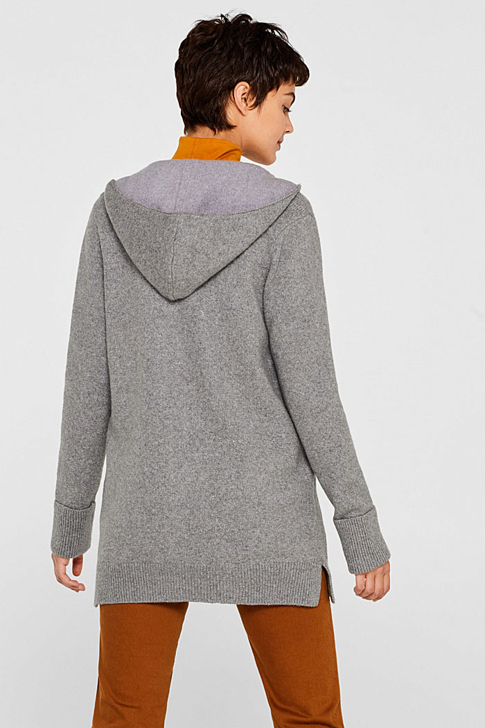 With wool: knitted coat with a hood, GUNMETAL, detail image number 3