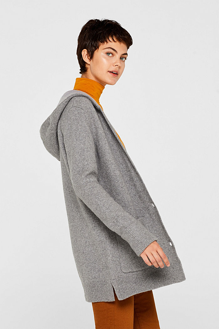 With wool: knitted coat with a hood, GUNMETAL, detail image number 5