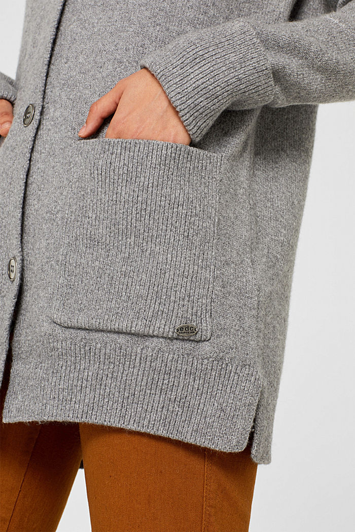 With wool: knitted coat with a hood, GUNMETAL, detail image number 2