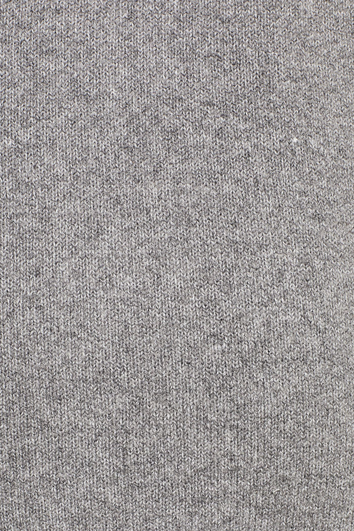 With wool: knitted coat with a hood, GUNMETAL, detail image number 4