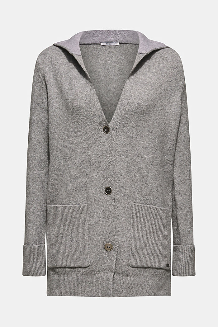 With wool: knitted coat with a hood, GUNMETAL, detail image number 7