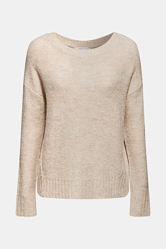 With wool: Bouclé jumper with a button placket, BEIGE, detail image number 2