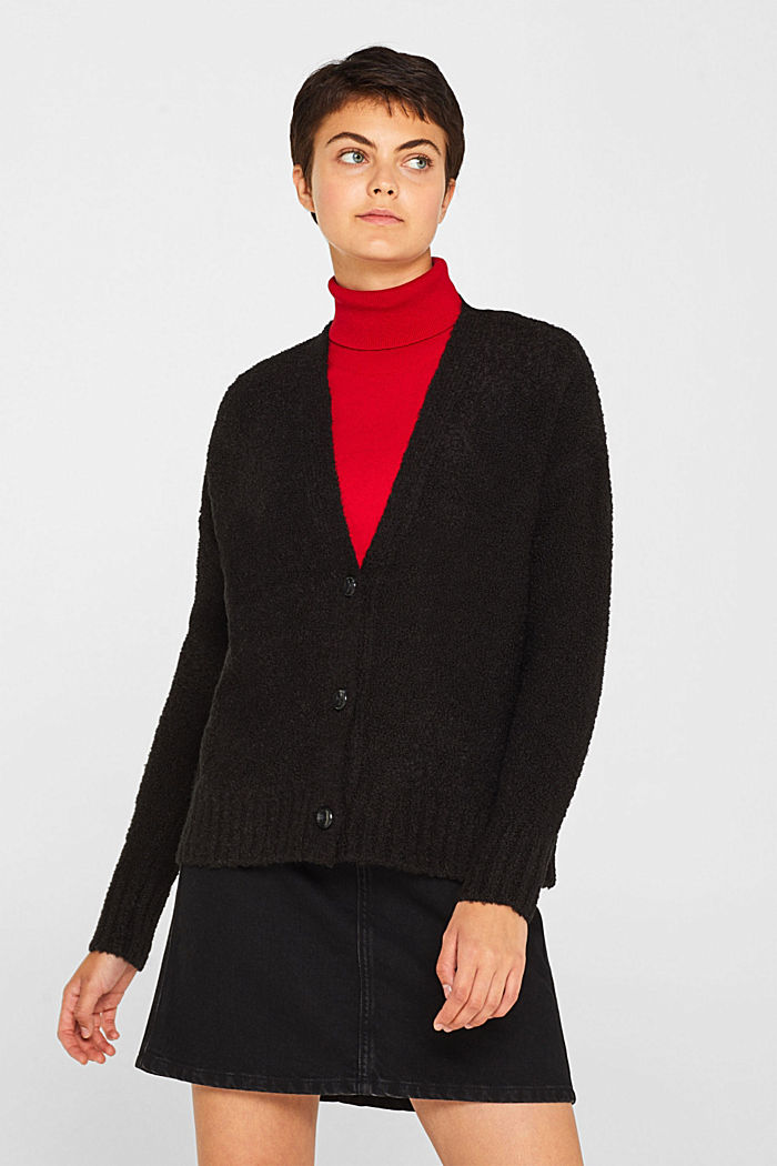 Made of blended wool: Bouclé cardigan with a V-neckline, BLACK, detail image number 0