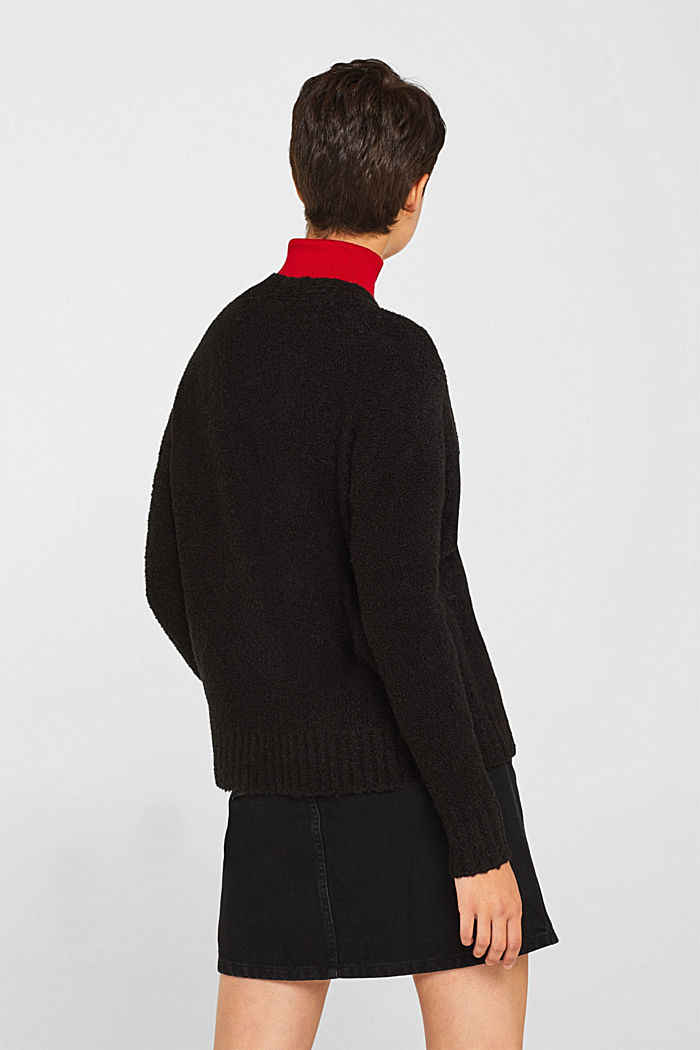 Made of blended wool: Bouclé cardigan with a V-neckline, BLACK, detail image number 3